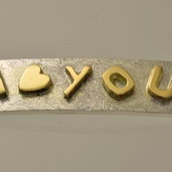 Silver bracelet with I LOVE YOU gold