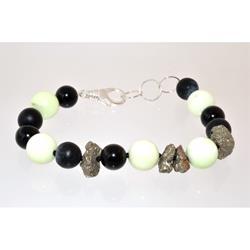 Braccialetto con pietre dure e argento - color verde soft